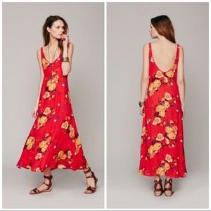 Intimately Free People Red Floral Maxi Dress /Slip